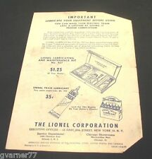 Vintage Lionel Lubricate Equipment Operating Instructions 1950s 926-26 Oil