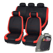 Car Seat Covers for Auto Red Venice Series Split Bench w/ Organizer Kick Mat