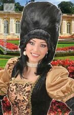 Ladies Baroness Madam Bovary Black Wig Tall Panto Dame Burlesque Fancy Dress