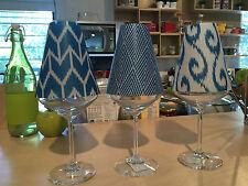 Elegant di Potter Translucent Wine Glass Shades set of 6 Ikat Bahama Blue