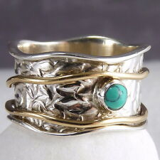 2SPIN WAVE SPINNER US 6.25 SilverSari RING Solid 925 StgSilver TURQUOISE SPR1073