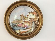 AUTHENTIC ANTIQUE HAND PAINTED PLATE MOUNTED IN ROUND GILDED WOOD FRAME.