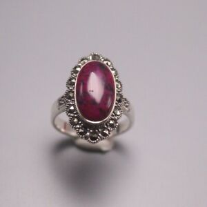 Pure 925 Sterling Silver with Oval Sugilite Ring Size 6-12 For Woman