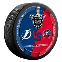 2020 STANLEY CUP NHL PLAYOFFS PUCK FIRST 1ST ROUND LIGHTNING VS. BLUE JACKETS