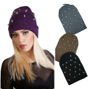 Ladies Chrome Skull Studded Stud Knitted Slouch Beanie Hat Adults Winter Cap