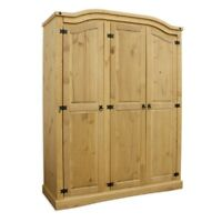 Corona 3 Door Wardrobe in Distressed Waxed Pine Wooden Cabinet Bedroom Bedding