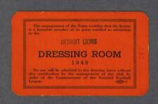 Detroit Lions 1949 Football Dressing Room Pass