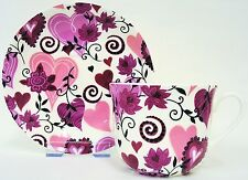 Hearts & Flowers Large Cup & Saucer Bone China Hearts Breakfast Set Decorated UK