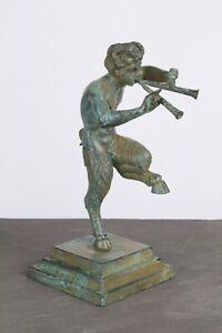 Satyr Figurine Statue in Bronze (Green) - Made in Europe (4.3in/11cm)