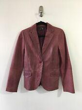 Zara Womens Leather Vintage Distressed Jacket Blazer Deep Red Bown Colour Sz M