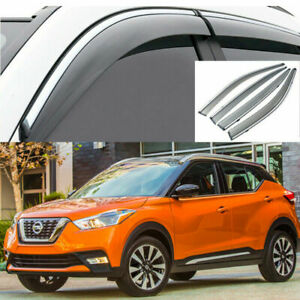 For Nissan Kicks 2017-2020 Window Visor Vent Sun Shade Rain Guard Chrome Trim.