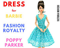 Turquoise Chiffon Dress for Fashion Royalty, Barbie, Poppy Parker 12 inch dolls