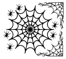 """Halloween 8"""" Round & 4.5"""" Fancy Corner Web Diecut Embellishments Scrapbook Craft"""