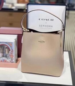 NWT Coach 91122 Leather Town Bucket Bag in Taupe Oxblood