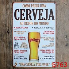 Metal Tin Sign como pedir cerveja Bar Pub Vintage Retro Poster Cafe ART
