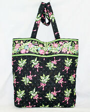 VERA BRADLEY Button & Loop Tote in New Hope Pink Ribbons Green White Floral