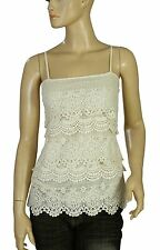 138825 NWT New $129 Lucky Brand Crochet Lace Tiered Smocked Beige Blouse Top S