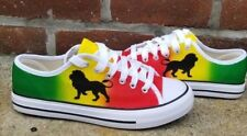 Custom Rasta Canvas red, yellow and  green shoes ( All sizes)