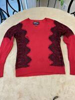 Buffalo David Bitton Womens Medium Long Sleeve Sweater Red And Black Lace Detail