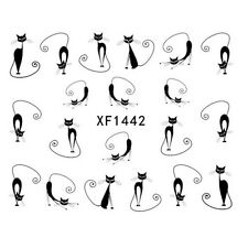 2 SHEETS NAIL ART WATER TRANSFERS STICKERS BLACK CATS PATTERN (40 DECALS) HOT