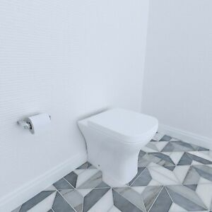BTW Back To Wall Toilet Pan With Soft Close Seat Bathroom Cloakroom WC Modern