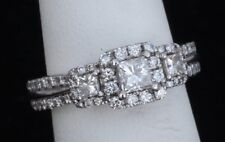 14k White Gold Vera Wang Love Collection Princess Halo Diamond Engagement Ring