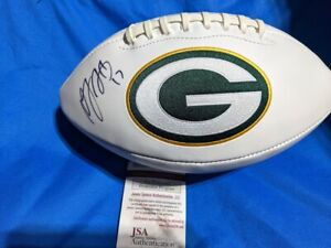 Autographed/Signed DAVANTE ADAMS Green Bay Packers Logo Football Beckett JSA COA