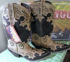 DURANGO Crush Cross Overlay Embroidered Leather Western Boots Size 8.5 M