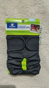 Top Paw 2 Washable Diaper Cover Up Adjustable Small 8-15 lb Black Gray polka dot
