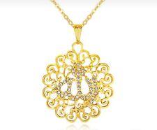 WOMENS ISLAMIC JEWELLERY NECKLACE YELLOW GOLD PLATE ARABIC ALLAH PENDANT & CHAIN
