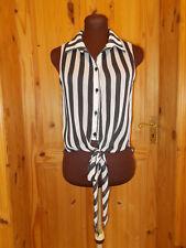 QUIZ black ivory off-white striped chiffon sleeveless blouse shirt top 12 40