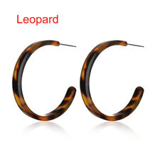 Fashion Women Acrylic Resin Hoop Earrings Tortoise Shell Round Circle Jewelry UK