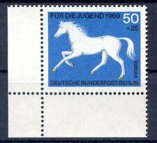 Berlin Mi-Nr 329  Ecke 3  (50+25) -Jugend;Pferde- ** Postfisch 1969