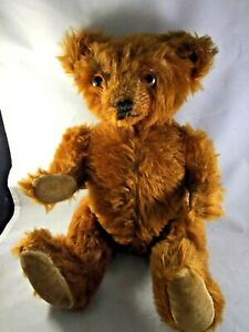 "ANTIQUE 13"" TEDDY BEAR Brown Mohair - Glass Eyes - Jointed"