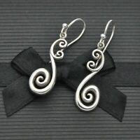 Vintage Pair of Swirl Design Dangle Hook Earrings in 925 Sterling Silver