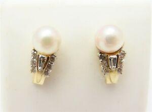 14K Yellow Gold ~6.5MM Pearl & Diamond Accent Drop Earrings