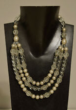 Necklace 3 Strand Brushed Silver Frosted Glass Beaded Necklace