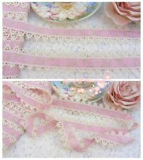 """1.5""""*1Y Beautiful Venise Lace Trim~Pink+Ivory+Light Green~Lovely Rose Princess~"""