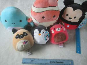 """Large Lot of Squishmallows (Two NWT) Three 5"""" and Three 8"""" Nemo Ray Dog Penguin"""