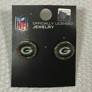 Green Bay Packers NFL WinCraft Stud Silver Tone Pierced Earrings