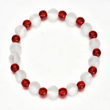 8mm Red Clear Glass Crystal Stretch Beaded Bracelet
