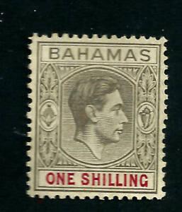 Bahamas 1938 1/- Grey Black & Carmine Scott # 155 mint hinged stamps