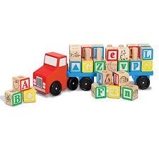 Melissa And Doug Classic Toy Wooden Alphabet Truck Play Set NEW Toys Kids