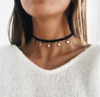 Fashion Women Retro Gothic Black Leather Cord Choker Collar Star Pendant Necklac