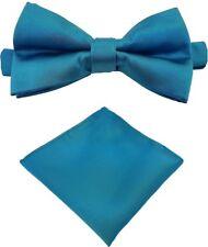 Fliege + Einstecktuch Schleife Querbinder Binder de Luxe 615 blau Krawatten