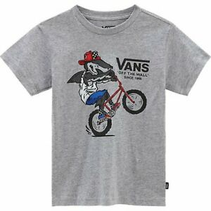 Brand New Boys Vans Extreme Shark T-shirt Athletic Heather Size M (10-12)