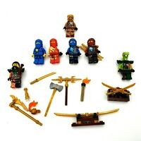 LEGO Ninjago Minifig LOT 7 Figures PLUS Gold Weapons