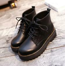 Women Ladies Lace Up Chunky Cleated Sole Goth Punk Ankle Biker Boots Shoes