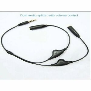 Green Connection Black Headphone Splitter with Separate Volume Controls