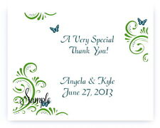 100 Personalized Custom Green Butterfly Swirl Bridal Wedding Thank You Cards